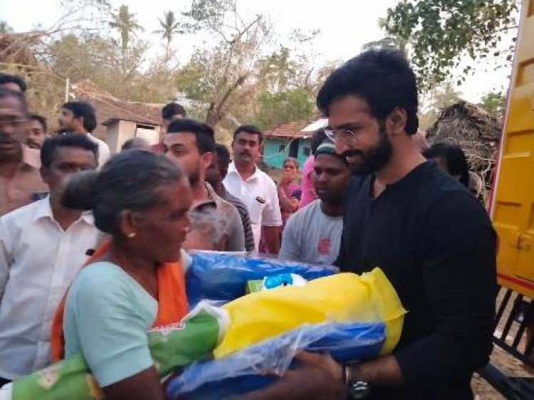 Actor Aadhi visited and distributed 5 tonnes of relief funds to Gaja Cyclone victims