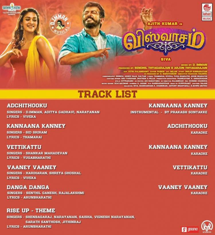 Viswasam Tracklist Songs Jukebox from Today