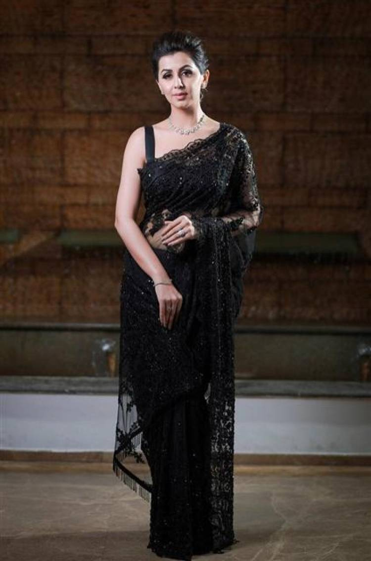 Actress Nikki Galrani Stunning Stills in Black Saree