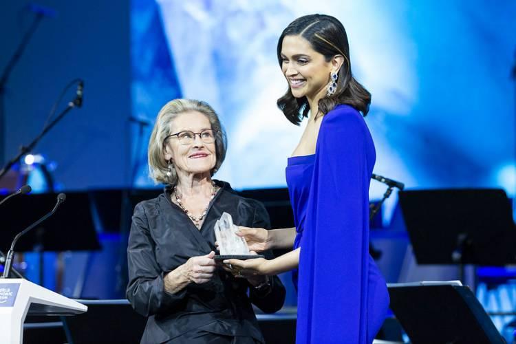 Deepika Padukone receives the 2020 Crystal Award in Davos for her leadership in raising mental health awareness