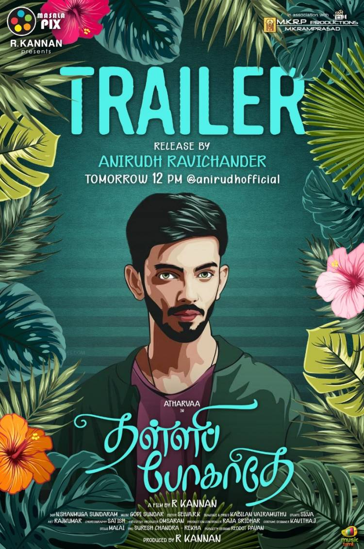 Rockstar @anirudhofficial will be releasing  @atharvaamurali's #ThalliPogathey Trailer on Oct 9 (Friday) at 12PM.