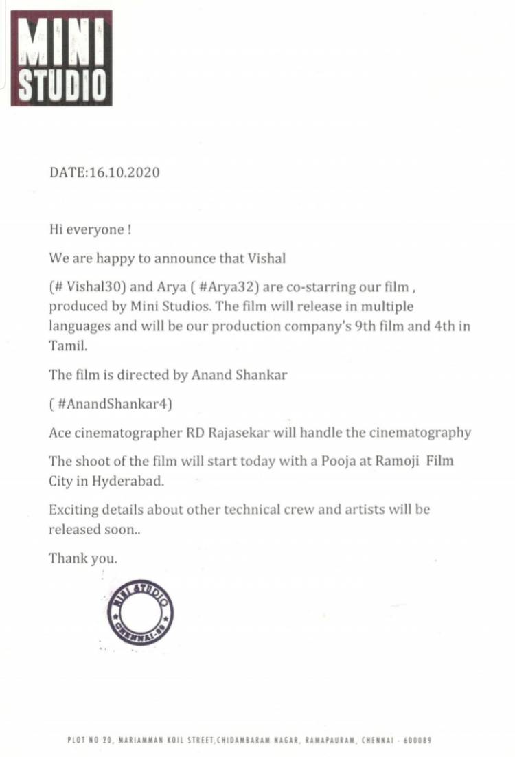 @VishalKOfficial @arya_offl *er @anandshank directorial venture produced by @vinod_offl @MiniStudio