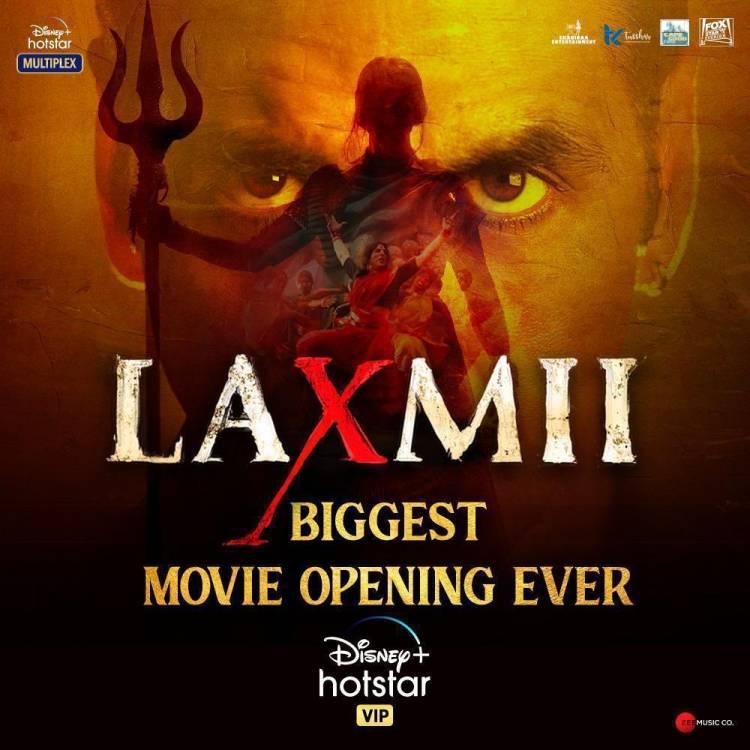@akshaykumar and @advani_kiara starrer #Laxmii shatters records; becomes the biggest movie opening on @DisneyplusHSVIP ever.