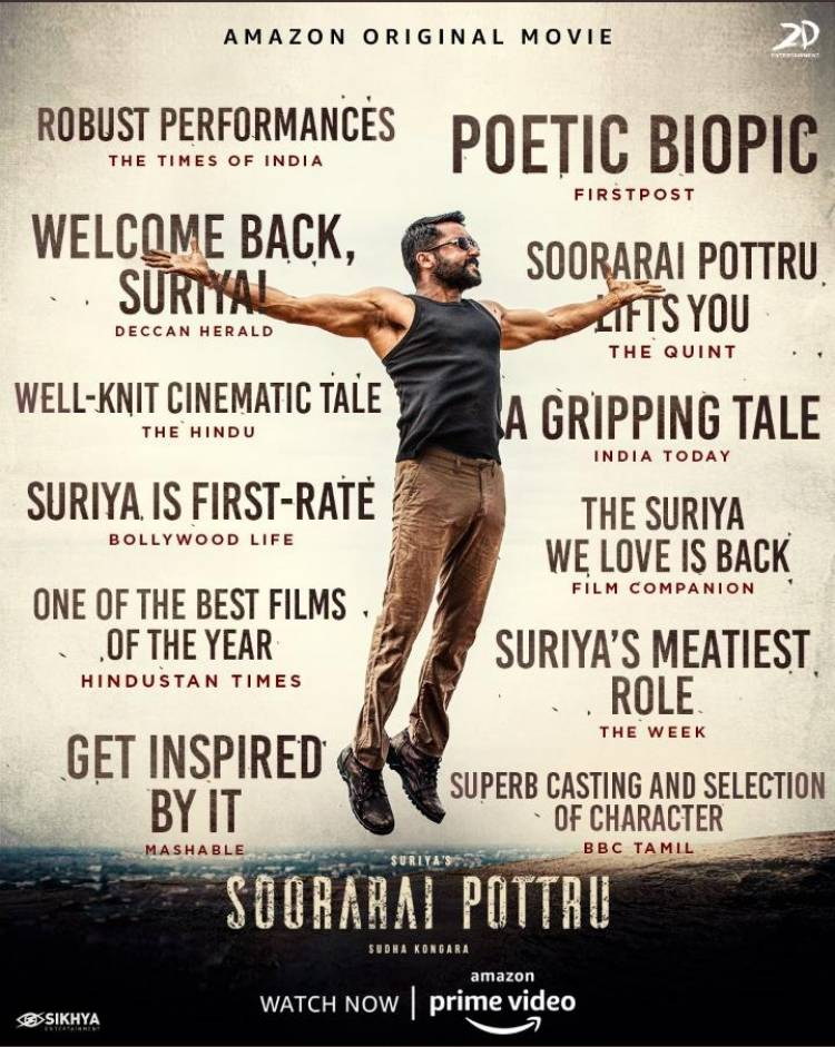 Thank you for all the love!  #SooraraiPottruOnPrime watch now, @PrimeVideoIN