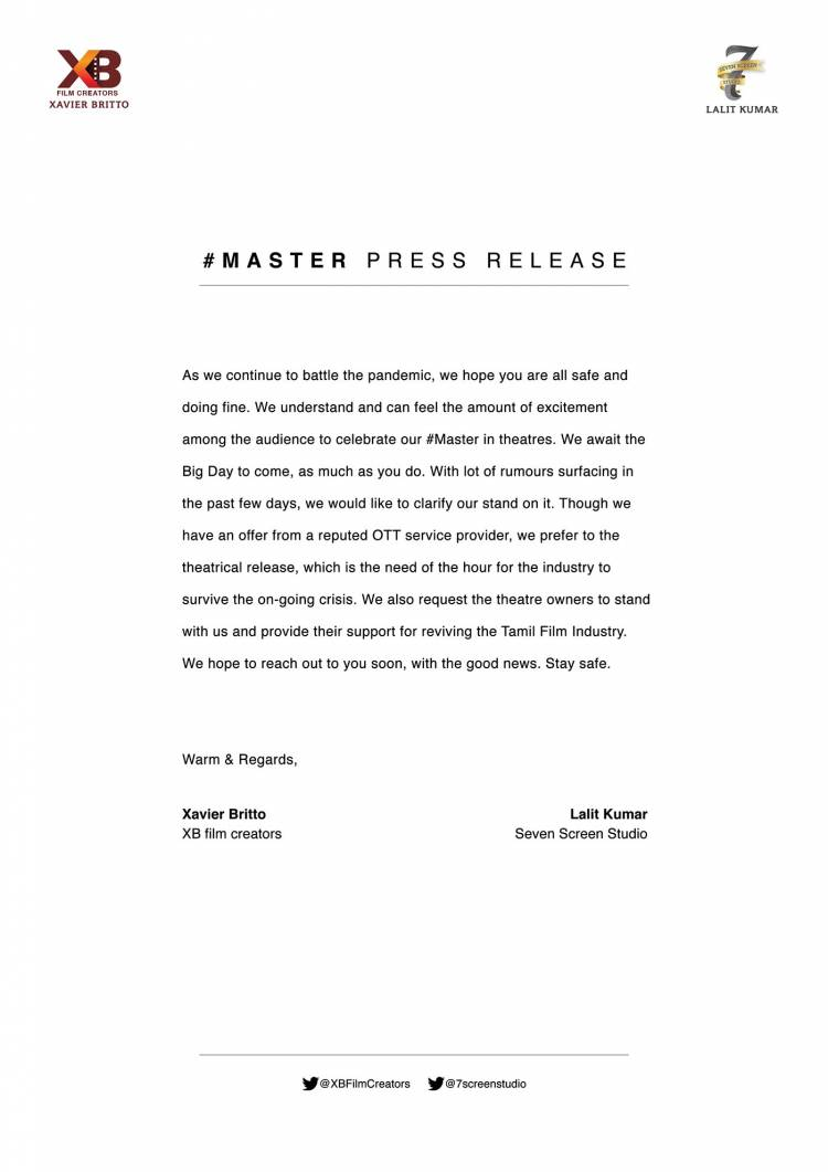 #MasterPressRelease  @actorvijay @VijaySethuOffl @Dir_Lokesh @XBFilmCreators