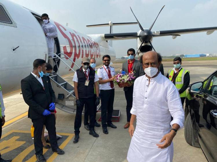 #SuperstarRajinikanth leaves to Hyderabad for #Annaatthe shoot