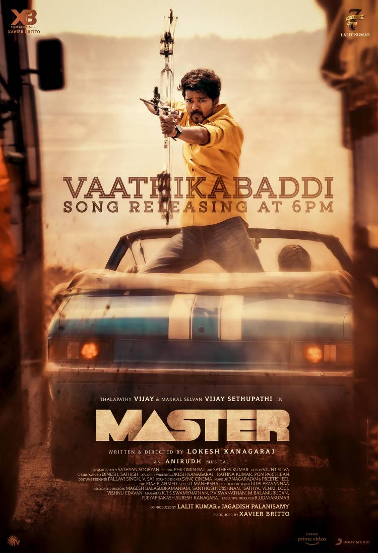 #Master #VaathiKabaddi full song releasing today @6pm