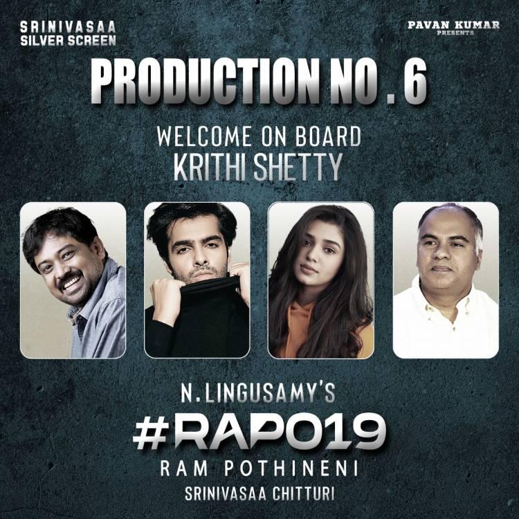 லிங்குசாமி, நடிகர் ராம் பொதினேனி கூட்டணியில் உருவாகும் #RAPO19 படத்தில் நாயகியாக கீர்த்தி ஷெட்டி இணைந்துள்ளார் !
