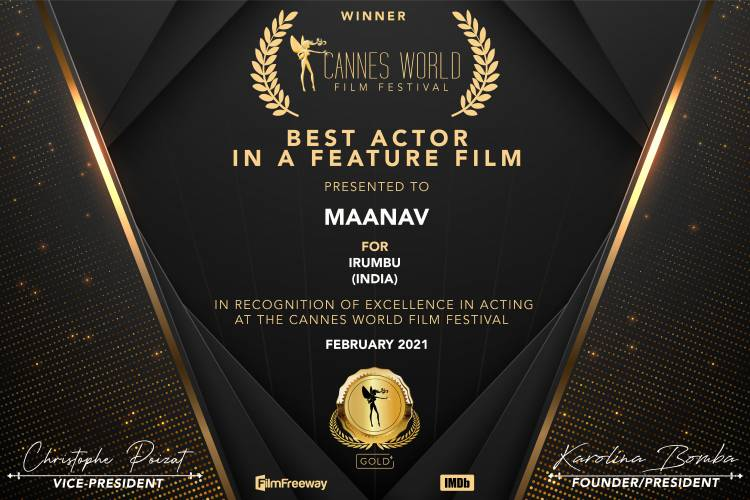Maanav Bags Best Actor award at  Cannes World Film Festival France