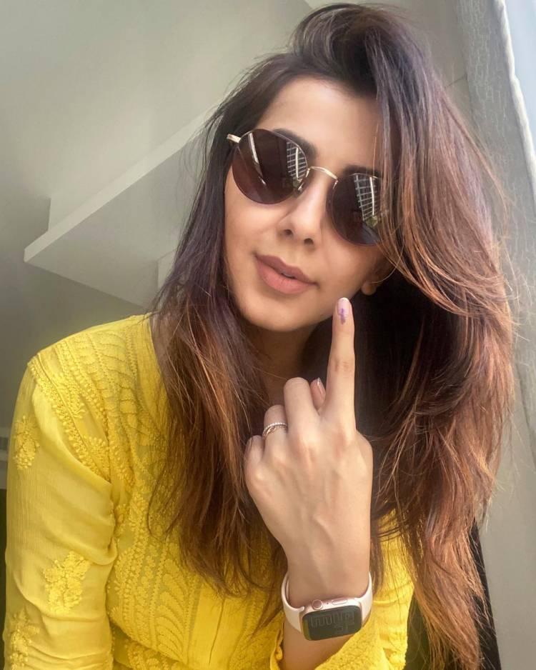 Actress @nikkigalrani casts her vote
