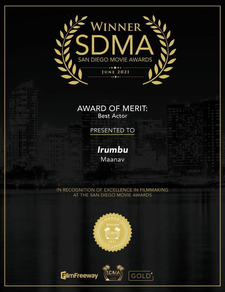 Maanav Bags Best Actor award at  SAN DIEGO MOVIE AWARDS, USA