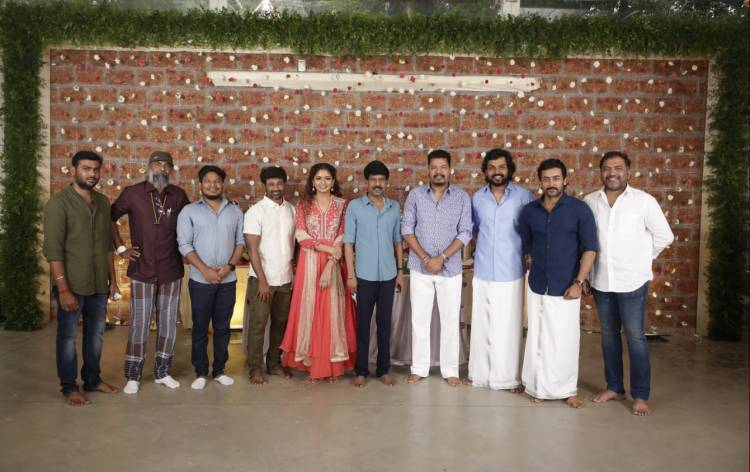 Pooja of Suriya-Jyotika's 2D Entertainment to producer Karthi-Muthaiah project titled VIRUMAN held.