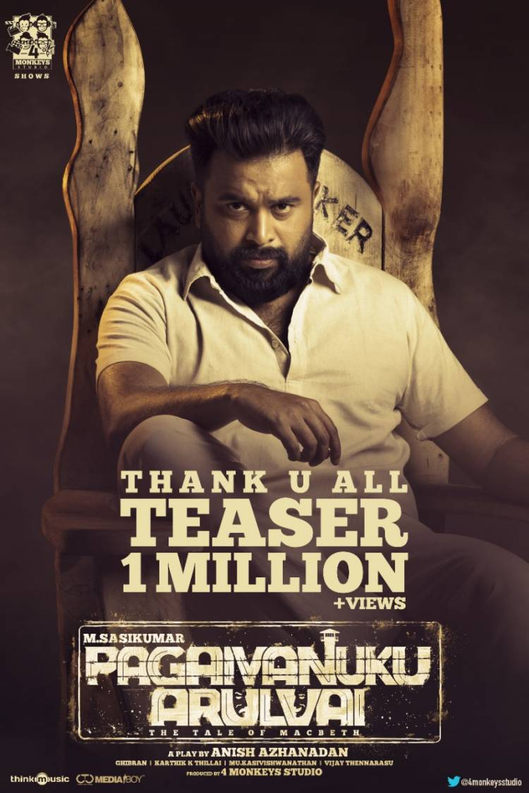 #PagaivanukuArulvai - teaser hits 1M+ Views , And good response from the audience.