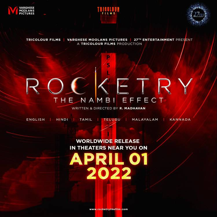 We are elated to inform you that the much-awaited Rocketry: The Nambi Effect will be released worldwide in theatres on 1st April 2022.